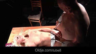 Blonde call-girl devouring old