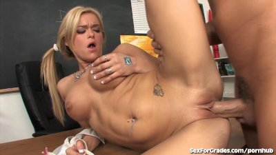 Blonde Student In Pigtails Fucks Teacher!