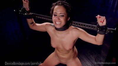 Black Bondage Device video: Slut Chained To Dungeon Floor