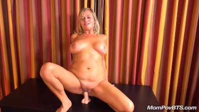 Busty blond MILF sucks and fuc