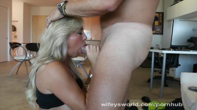 Busty MILF Sucks Cock And Swal