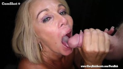 Gloryhole Secrets mature blonde sucks strangers cocks 2