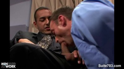 Naughty gays lick and fuck asses at work