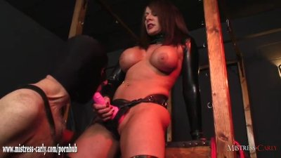 Mistress has gimp suck her cum soaked strapon after wank and cock pumping
