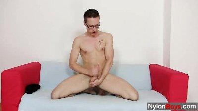 Solo gay Rick cums on his nylon pantyhose