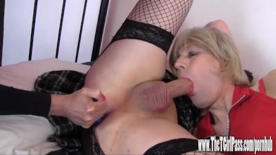 Femdom helps two horny crossdressers to suck big cock and spunk