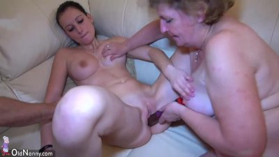 Big toy and old Granny and threesome with a man and two women