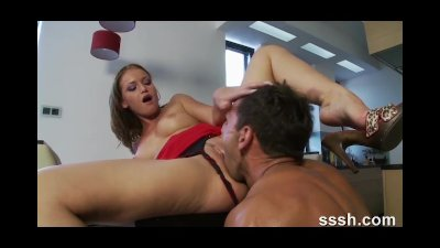 Porn for women Brunette fucked over the dining table