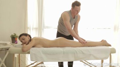 Teen beaut riding her masseur's shaft