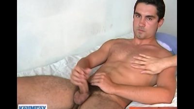 French next-door guy gets wanked his huge cock by a guy.
