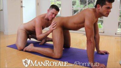 HD - ManRoyale Hardcore yoga session for two big dick hunk