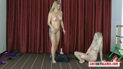 Two blondes play a strip game