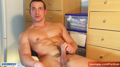 str8 French football player gets massaged his big cock and big balls.
