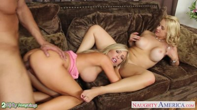 Busty chicks Sarah Vandella and Tasha Reign sharing cock