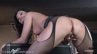 Vicky Love in sexy black dress fingering pussy wild