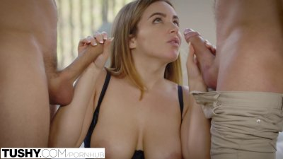 Brunette Busty Doggystyle video: TUSHY First Double Penetration For Natasha Nice