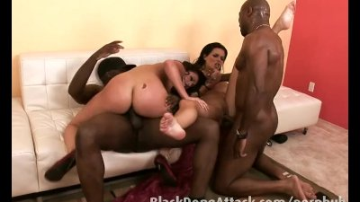 White girls enjoy two big black cock