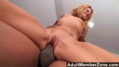 Small blonde takes on Shorty's supersized cock